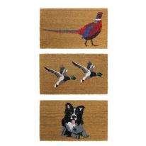 JVL Animal Themed Coloured Latex Back Coir Mat 45x75cm - Pheasant, Ducks of Dog